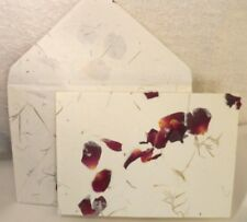 Handmade 25/25 White Paper with Rose Petals & Grasses Folded Note Handmade Envel