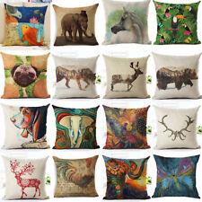 Aminal Printed  Cotton Linen Throw Pillow Case Sofa Car Cushion Cover Home Decor