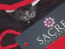 SACRED COLLECTION RedFrilledBlkLacedCottonTunic SzS NWT