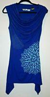 Desigual size Small Blue Printed Sleeveless Cowl Neck EUC