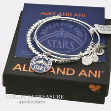 Authentic Alex and Ani Reach For the Stars Shiny Silver Charm Bangle Set of 2