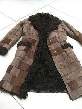 Ladies Vintage AFGHAN PENNY LANE brown SUEDE curly SHEEPSKIN long COAT UK 10