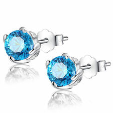 Mabella 1.0 Cttw. 5mm Round Cut Created Blue Topaz .925 Sterling Silver Stud Earrings - EWS017CT