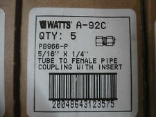 "Lot of 20  New Watts A-92C 5/16"" x 1/4"" Tube to Female Pipe Coupling w/Insert"