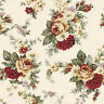 "CANVAS HEAVY COTTON UPHOLSTERY CRAFT FABRIC ANTIQUE CHIC FLORAL ROSE YELLOW 44""W"
