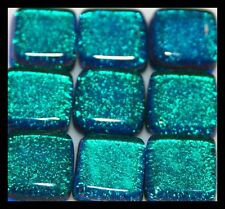 Lot of 6 AQUA GREEN Square SPARKLE Fused Glass DICHROIC Cabochons NO HOLE Beads
