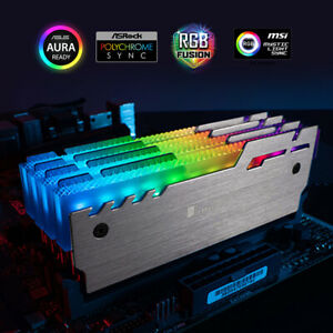 2-Pack RGB Memory Cooler 5V 3-pin Addressable LED Aluminum Radiator RAM Cooling
