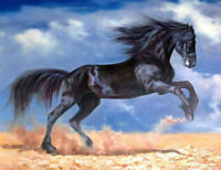 ENOPT437 vacated runing black horse art hand-painted oil painting on canvas
