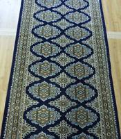 "2'6""x10' New finest Blue handmade silky Wool Royal Bokhara Oriental rug runner"