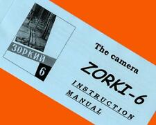 ENGLISH MANUAL for ZORKI-6 35mm RF camera USSR Leica copy INSTRUCTION BOOKLET