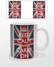 KEEP CALM & CARRY ON 11 OZ COFFEE MUG VIBES RELAXATION UK FLAG UNITED KINGDOM!!!