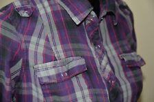 Juniors Casual Blouse Shirt MILEY CYRUS Purple Plaid Tartan Western Large L