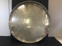 "HUGE 19.5"" Vintage Silver Plated Round Footed Tray Signed Sheffield England"