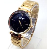 X225T Femme Neuf Créateur Style Poignet Montre or Bracelet Luxe Noir Chic Cadran