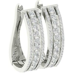 I1 G 3.50 Carat Hoop Earring Natural Diamond 14K White Gold Prong Set Appraisal
