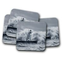 4 Set - Lighthouse Storm Coaster - Beach Ocean Sea Waves Scene Tower Gift #16964