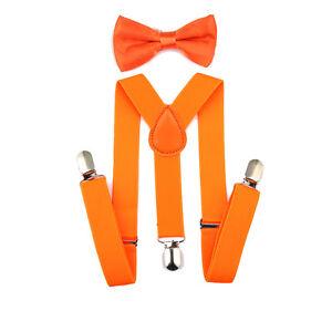 Children Solid Color Strap Clip + Bow Tie Suit Kid Elastis Adjustable Suspenders