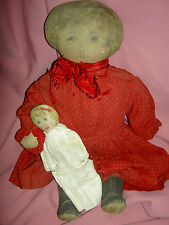 "Sweet antique, Art Fabric Mills (labeled: pat.Feb 1900) primitive cloth 17"" doll"
