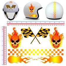 sticker helmet fire skull adesivi casco fiamme striscia quadri teschio 6 pz.
