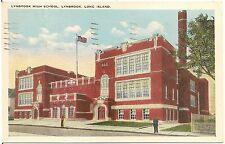 Lynbrook High School in Lynbrook, Long Island NY Postcard 1945