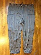 LYS Love Your Style Elastic Waist Cargo Pants Sz 26 Ankle tie Zippers Brown E