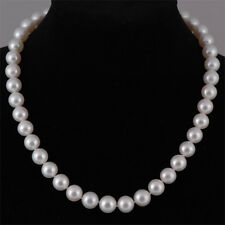 Genuine AAA10-11mm White Pearl Necklace 14ct Gold Clasp