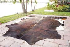 Dark Brindle Rodeo Cowhide Rug Hair on authentic leather rug