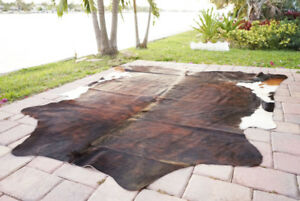 Dark Brindle Rodeo Cowhide Rug Hair on authentic leather rug size approx 6x7 ft