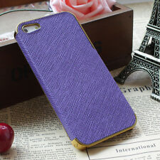 Luxary iPhone 5 / 5S Leather Chrome Hard Back Case Purple Gold Canadian Seller