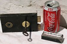 VINTAGE RECLAIMED METAL DOOR RIM LOCK  + WORKING KEY & KEEP - USE LEFT or RIGHT