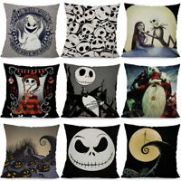 Nightmare Before Christmas Halloween Cushion Cover Pillow Case Flax Sofa Home