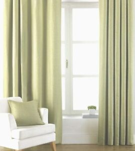 APPLE  LIGHT GREEN  TAB TOPS CURTAINS 100% cotton canvas