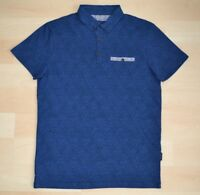 Authentic Ted Baker Blue Diamond Pattern Polo Shirt Contrast Pocket Ted Size 1-4