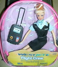 "Flight Attendant Doll WestJet Airlines 11"" Blond w Backpack & Accessories New"