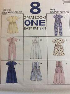 1996 McCalls 8044 VTG Sewing Pattern Girls Dress Jumpsuit Romper Size 7 8 10