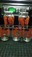 Vintage 50's juice glasses Red Kittie's,Doggie's and Clocks