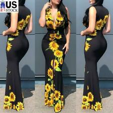 ️Women's Sunflower Sexy Plunge V Neck Long Maxi Dress Bodycon Party Ball Gown US