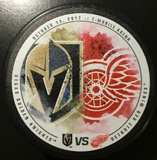 Detroit Red Wings vs Las Vegas Golden Knights.Match Up Souvenir Puck  10/13/2017