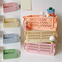 Hot Folding Collapsible Plastic Storage Crates Boxes Stackable Basket Organizing