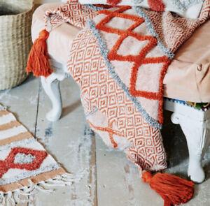 Sass & Belle Arizona Blanket Throw Orange Red Aztec Decorative Home Decor