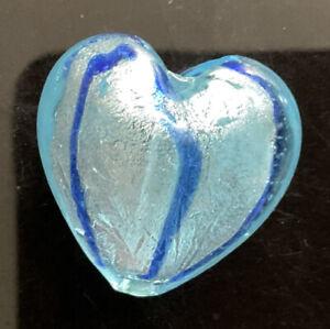 Large Glass Heart Pendant Foil 2 Tone. 30mm X 30mm New