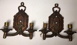 Pair of Antique Arts Crafts Art Nouveau Victorian Copper Finish Cast Iron Sconce