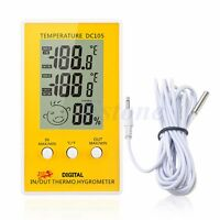Indoor Outdoor Digital LCD Humidity Hygrometer Thermometer Meter Probe Cable C/F