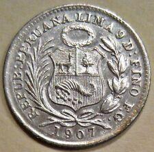 NICE PERU 1907-FG SILVER HALF DINERO COIN (KM# 206.2)