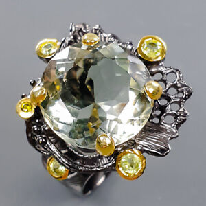 Jewelry Unique SET Green Amethyst Ring Silver 925 Sterling  Size 8.5 /R178213