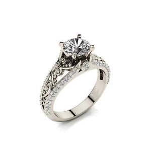 1.86Ct White Round Cut Diamond Filigree Engagement Ring In 925 Sterling Silver