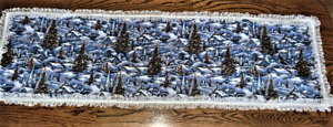 """*NEW* Hand Sewn Christmas Village Winter Snow Scene Table Scarf w/lace 43"""" X 14"""""""