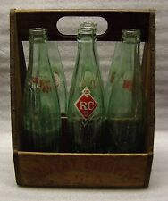 Antique Royal Crown Cola 6-Pack Wooden Carrier with RC Glass Bottles