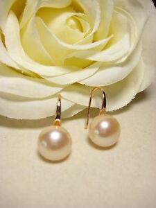 Ohrring Rotgold vergoldet echte Süßwasserperlen Perlen Schmuck Mode Stein rosa