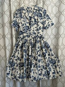 Collectif Vintage Swing Dress Navy Floral S